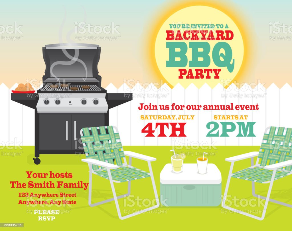 Backyard BBQ themed invitation template with sun and picket fence vector art illustration
