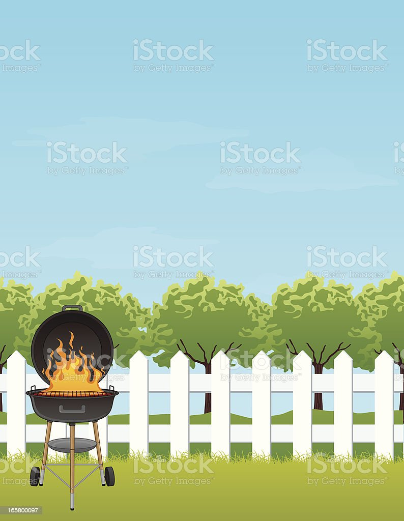 Backyard BBQ with Copyspace vector art illustration