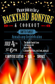Backyard Bonfire and cookout invitation design template