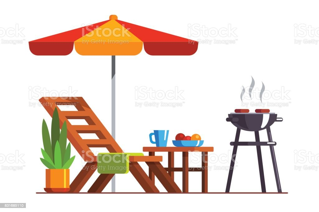 Backyard design with lounger and grill for bbq vector art illustration