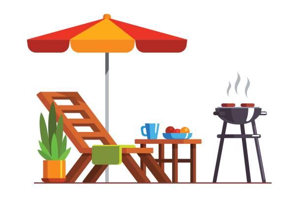ilustrações de stock, clip art, desenhos animados e ícones de backyard design with lounger and grill for bbq - isolated house, exterior