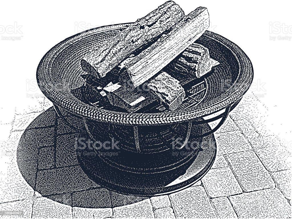 Backyard Fire Pit royalty-free stock vector art