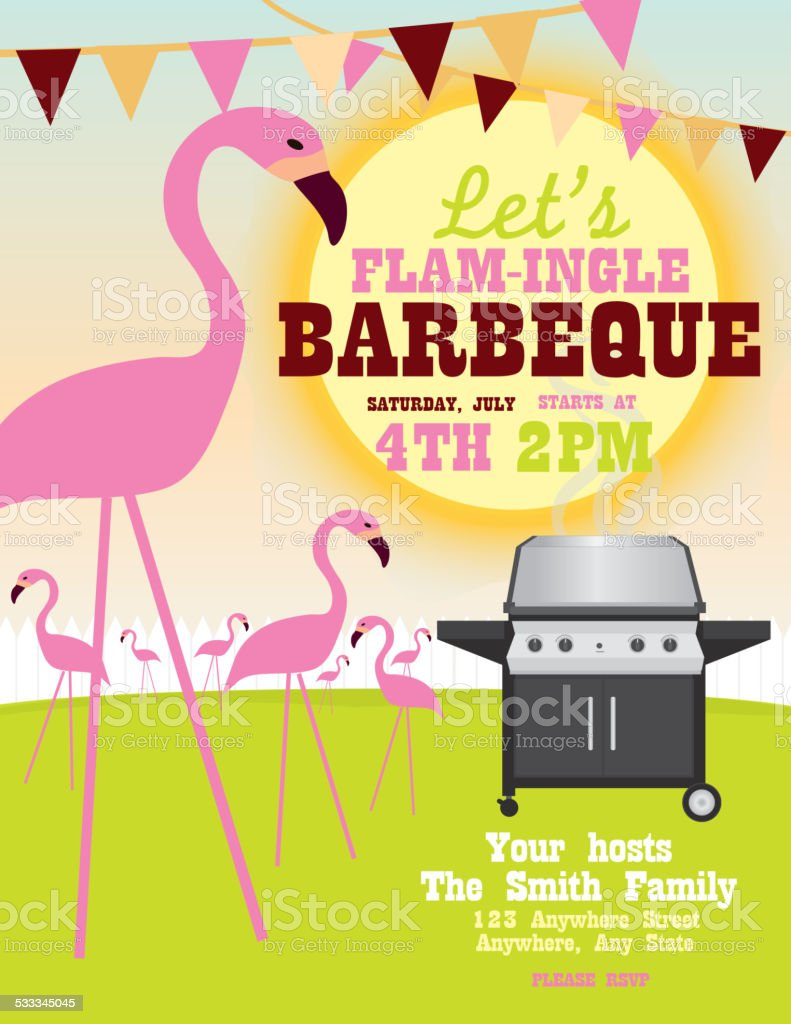 Backyard Flamingle Bbq Party Invitation Design Template stock – Gathering Invitation Sample