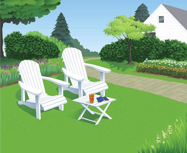 Backyard Garden Chairs Two white adirondack garden chairs sit in the sun in the backyard garden, where someone has been relaxing.  adirondack chair stock illustrations