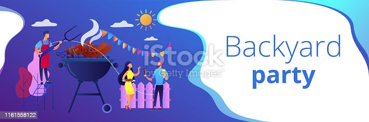 Neighbours flat characters grilling sausages. People eating, having picnic on nature. Backyard party, backyard BBQ, friends party ideas concept. Header or footer banner template with copy space.