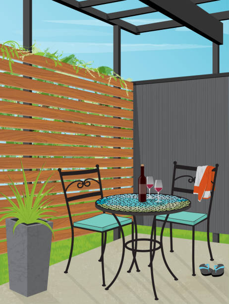 Backyard Patio Bistro Table Relaxing Backyard Patio Retreat with a mosaic bistro table and chairs. Relax with a glass of wine in private patio. Flat style vector with minimal detail and depth. patio stock illustrations