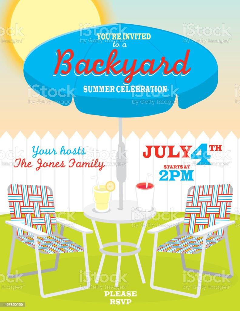 Backyard summer Fourth of July theme invitation design template royalty-free stock vector art