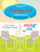 Backyard summer Fourth of July theme invitation design template