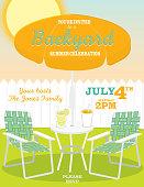 Backyard summer orange umbrella and lawn chairs invitation design template