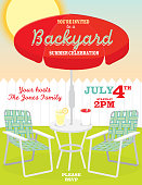 Backyard summer with umbrella and lawn chairs invitation design template