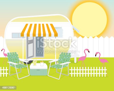 Vector illustration of sunny trailer park scene. Happy sunny background. Includes trailer, pink flamingos, cooler with beverages, picket fence and lawnchairs. Bright sun in background with shading. Fun summer times, relaxing times, beach, drinks, restful, travelling, family, friends, cool, ice tea, lemonade. Vacation, holidays, ice, retro, camper, games, laughing, party.