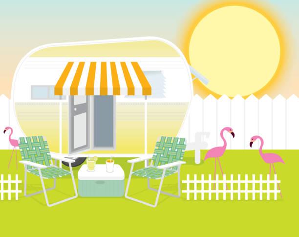backyard campingplatz sommer celebration hintergrund design-vorlage - campinganhänger stock-grafiken, -clipart, -cartoons und -symbole