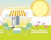 Backyard trailer park summer celebration background design template