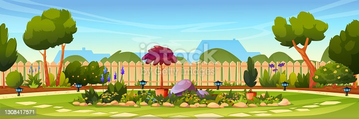 istock Backyard with flower bed, wooden fence hedge, grass and park plants, green trees and bushes, house on background. Vector flowerbed with stones and blossoms. Garden design architecture, lamps on ground 1308417571