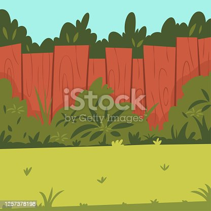 istock Backyard with wooden fence, garden, bushes and tree. Vector cartoon illustration. 1257378198