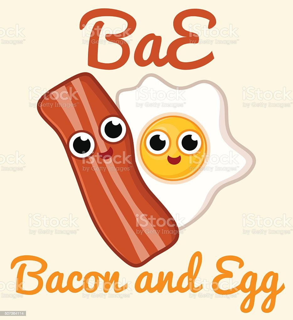 Bacon and Egg vector art illustration