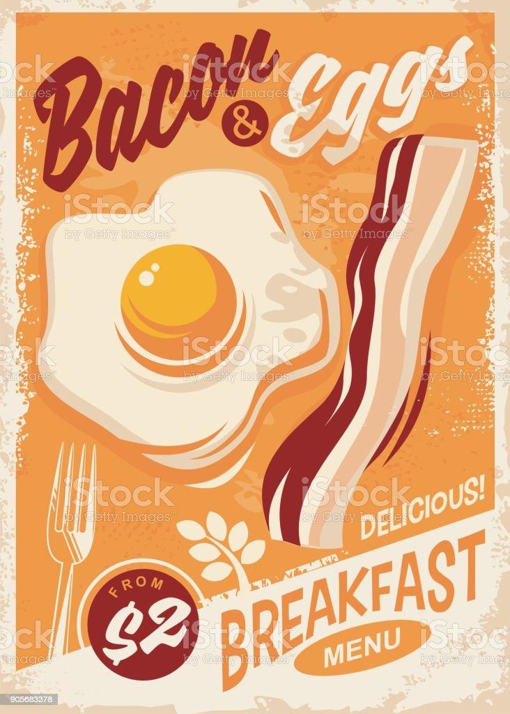 Bacon and Eggs breakfast menu vector art illustration