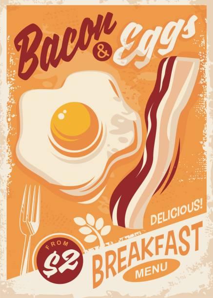 ilustraciones, imágenes clip art, dibujos animados e iconos de stock de tocino y huevos desayuno menú - desayuno