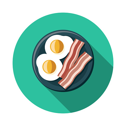 A flat design bacon and eggs breakfast food icon with long side shadow. File is built in the CMYK color space for optimal printing. Color swatches are global so it's easy to change colors across the document.