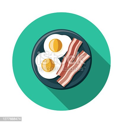 istock Bacon and Eggs Food Icon 1277668474