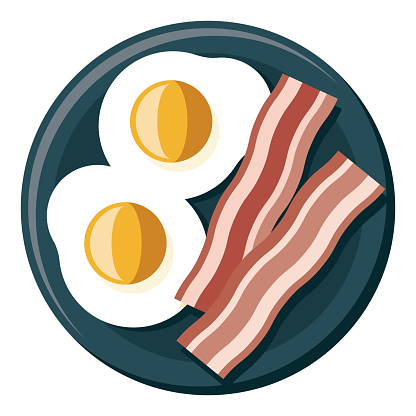 Bacon and Eggs Icon on Transparent Background