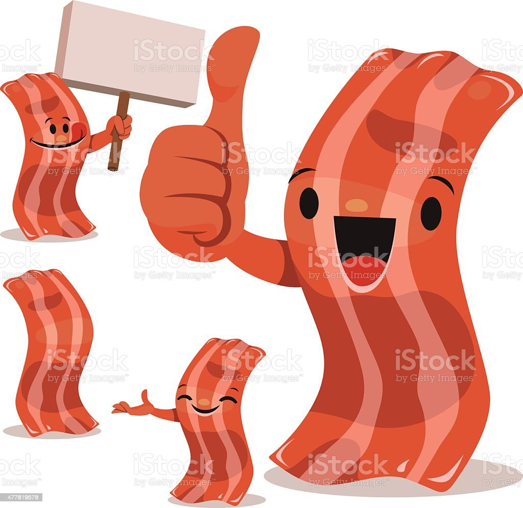 Bacon Cartoon Set C vector art illustration