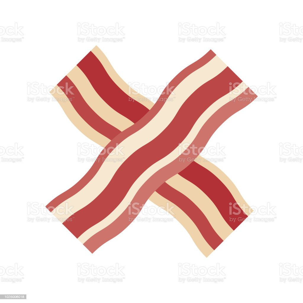 Bacon Flat Design Meat Icon vector art illustration