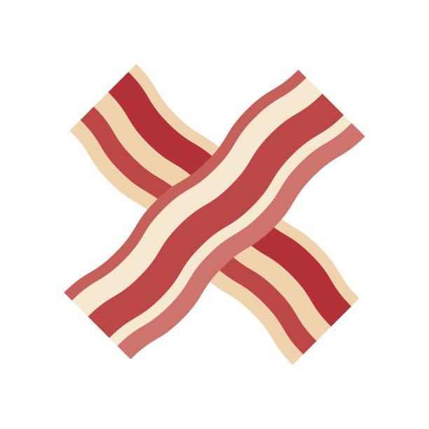 베이컨 플랫 디자인 고기 아이콘 - 베이컨 stock illustrations