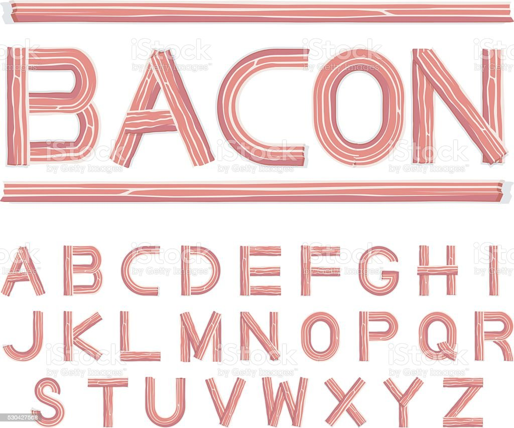 bacon font uppercase vector art illustration