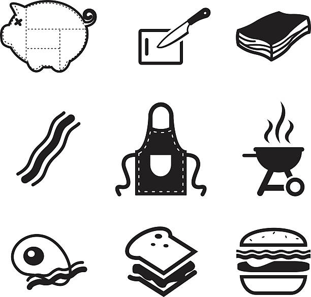 Pancetta icone - illustrazione arte vettoriale