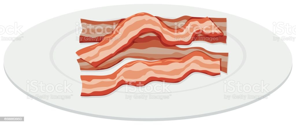 Bacon slices on plate vector art illustration