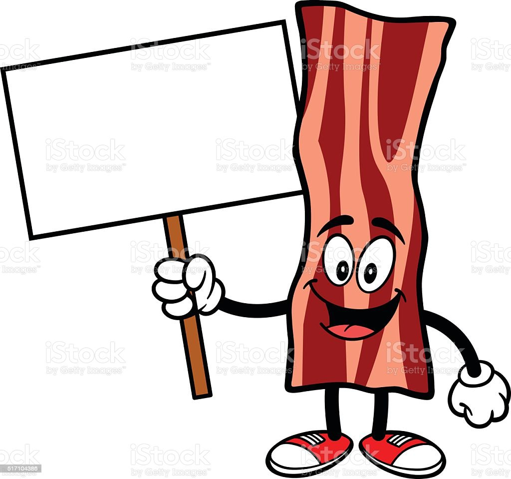Bacon Strip with a Sign vector art illustration