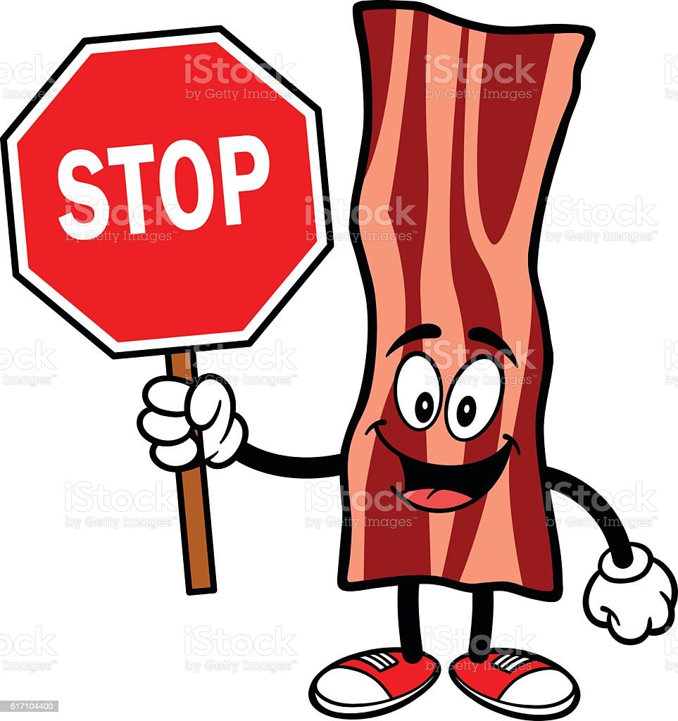 Bacon Strip with a Stop Sign vector art illustration