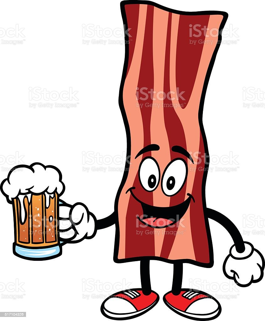 Bacon Strip with Beer vector art illustration
