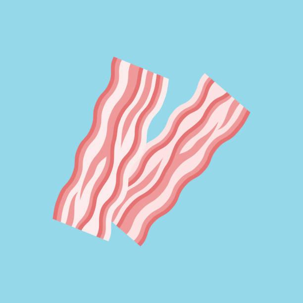 Bacon strips flat style icon. Vector illustration. vector art illustration