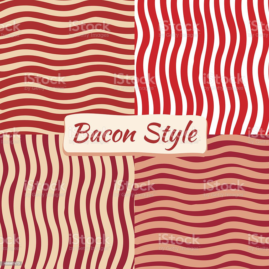 Bacon Wave Background In Four Variations vector art illustration
