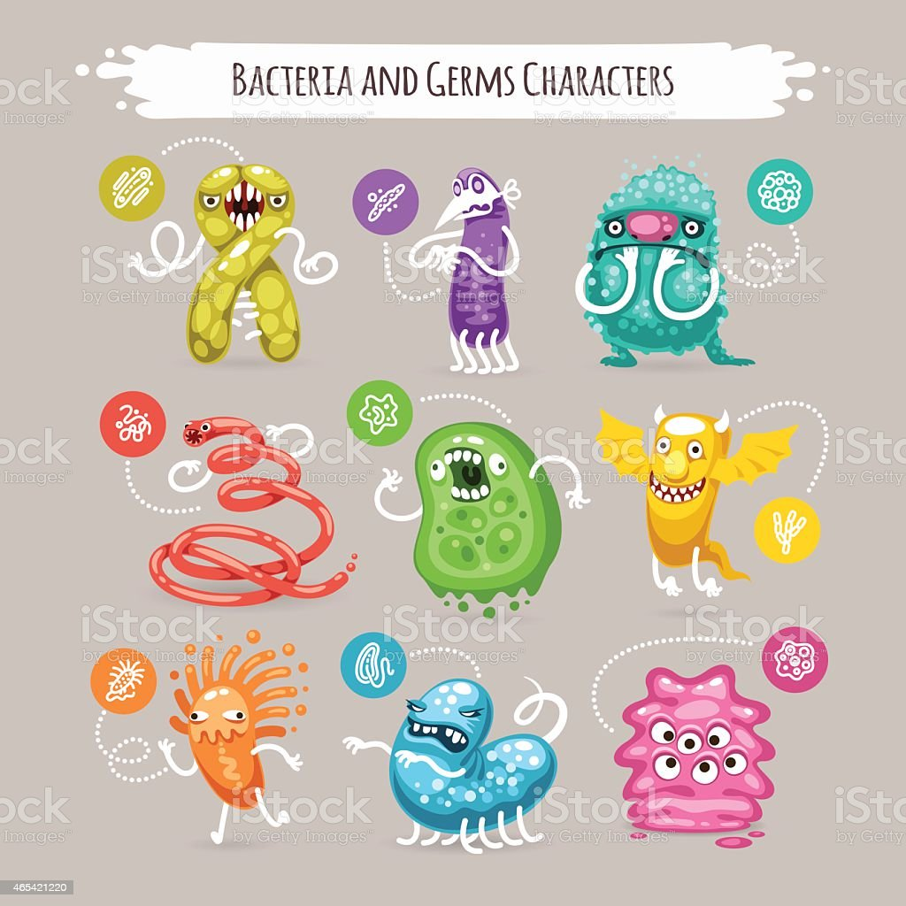 Bacteria and Germs Characters Set vector art illustration