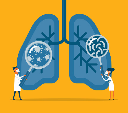 Bacteria and viruses on human lungs