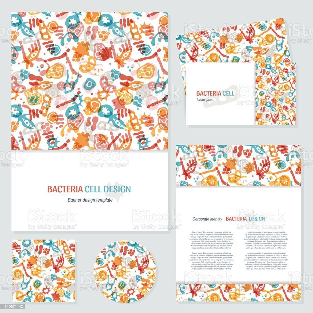 Bacteria business cards set vector art illustration