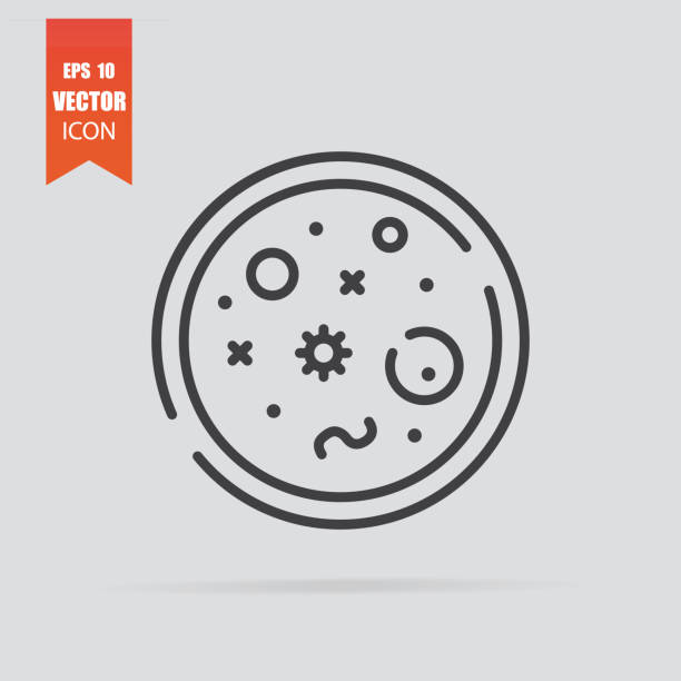 Bacteria icon in flat style isolated on grey background. Bacteria icon in flat style isolated on grey background. For your design, logo. Vector illustration. petri dish stock illustrations