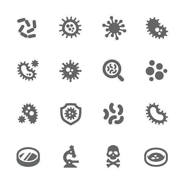 Bacteria Icons vector art illustration