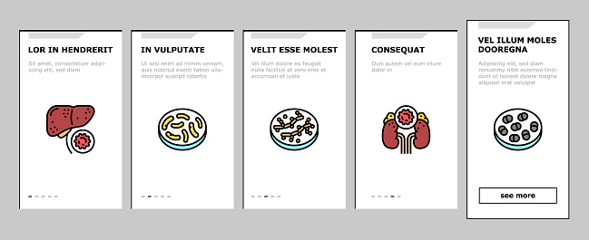 Bacteria Infection Onboarding Icons Set Vector