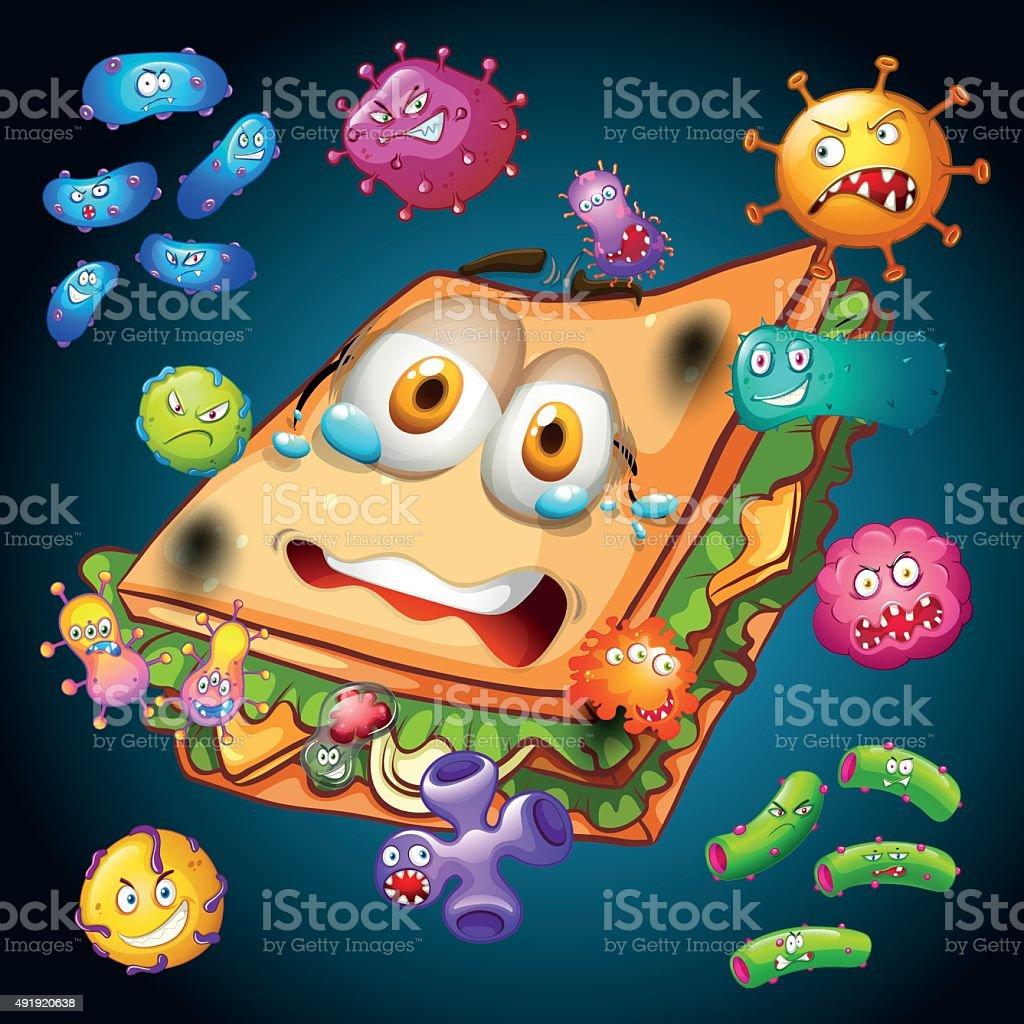 Bacteria on old sandwich vector art illustration
