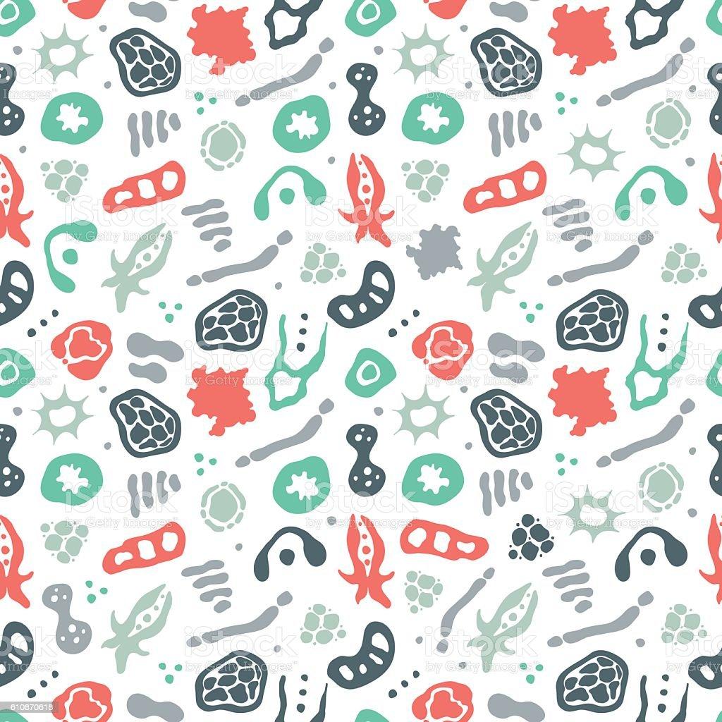 Bacteria seamless pattern vector art illustration