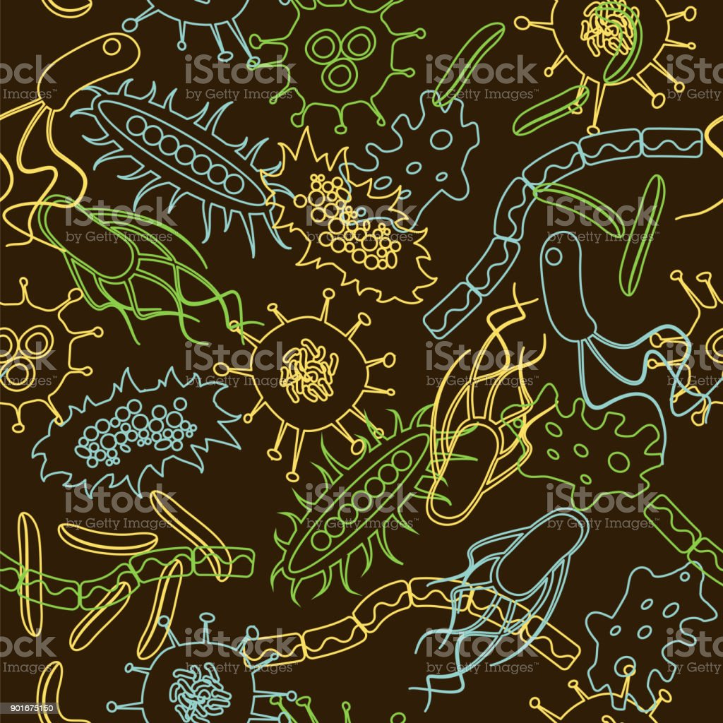 bacteria seamless pattern vector art illustration