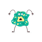 Bacteria silly beast or virus monster cartoon character, flat vector illustration isolated on white background. Creative ugly fantasy alien with legs and hands.