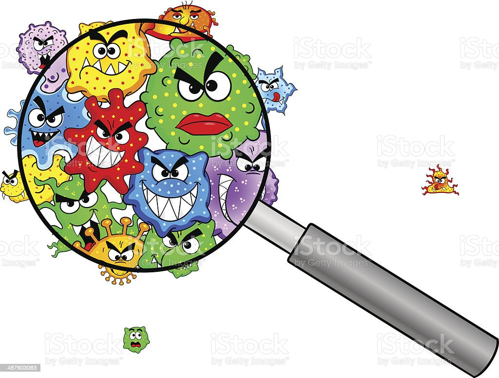 bacteria under a magnifying glass vector art illustration