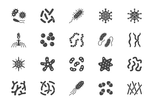 Bacteria, virus, microbe glyph icons. Vector illustration included icon as microorganism, germ, mold, cell, probiotic silhouette pictogram for microbiology infographic.