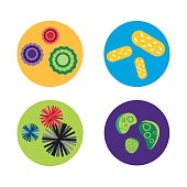 Bacteria virus microscopic isolated microbes icon human microbiology organism and medicine infection biology illness pathogen mold vector illustration