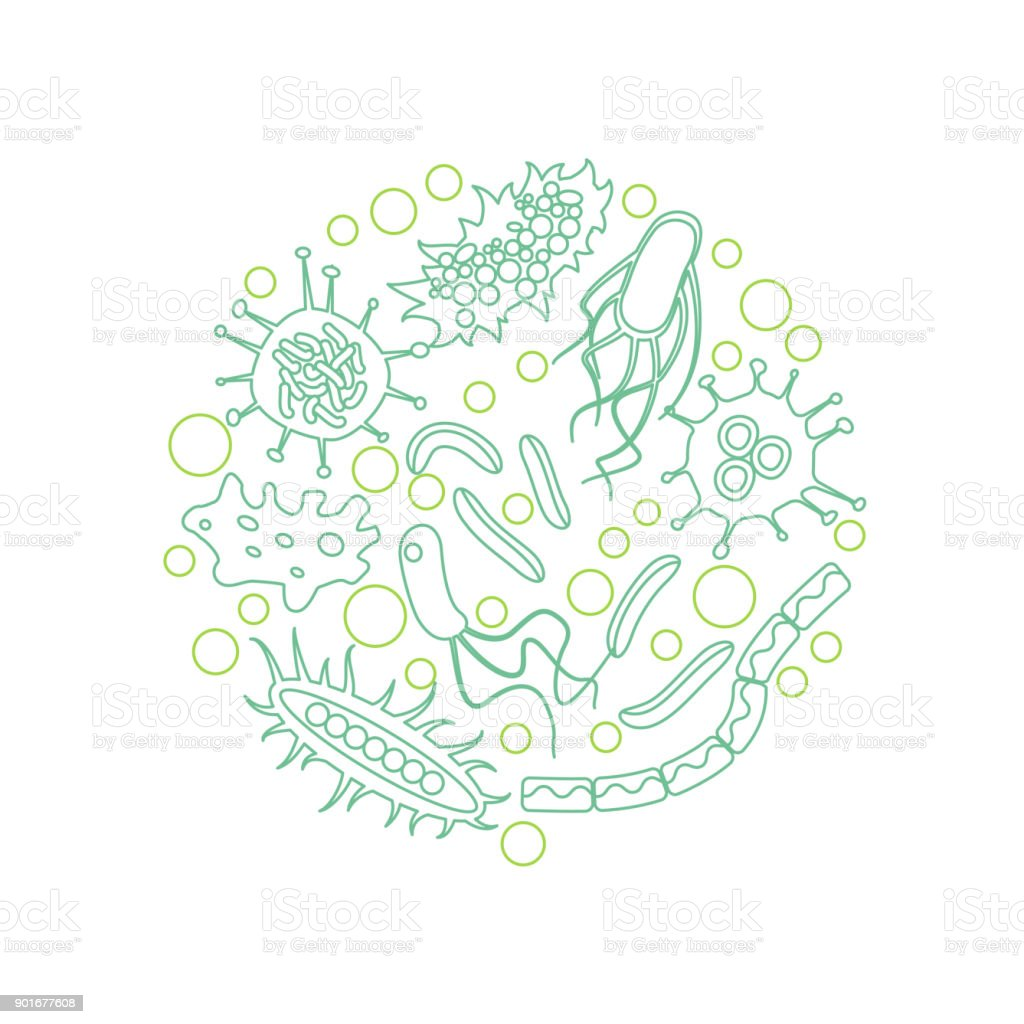 bacterial microorganism in a circle vector art illustration